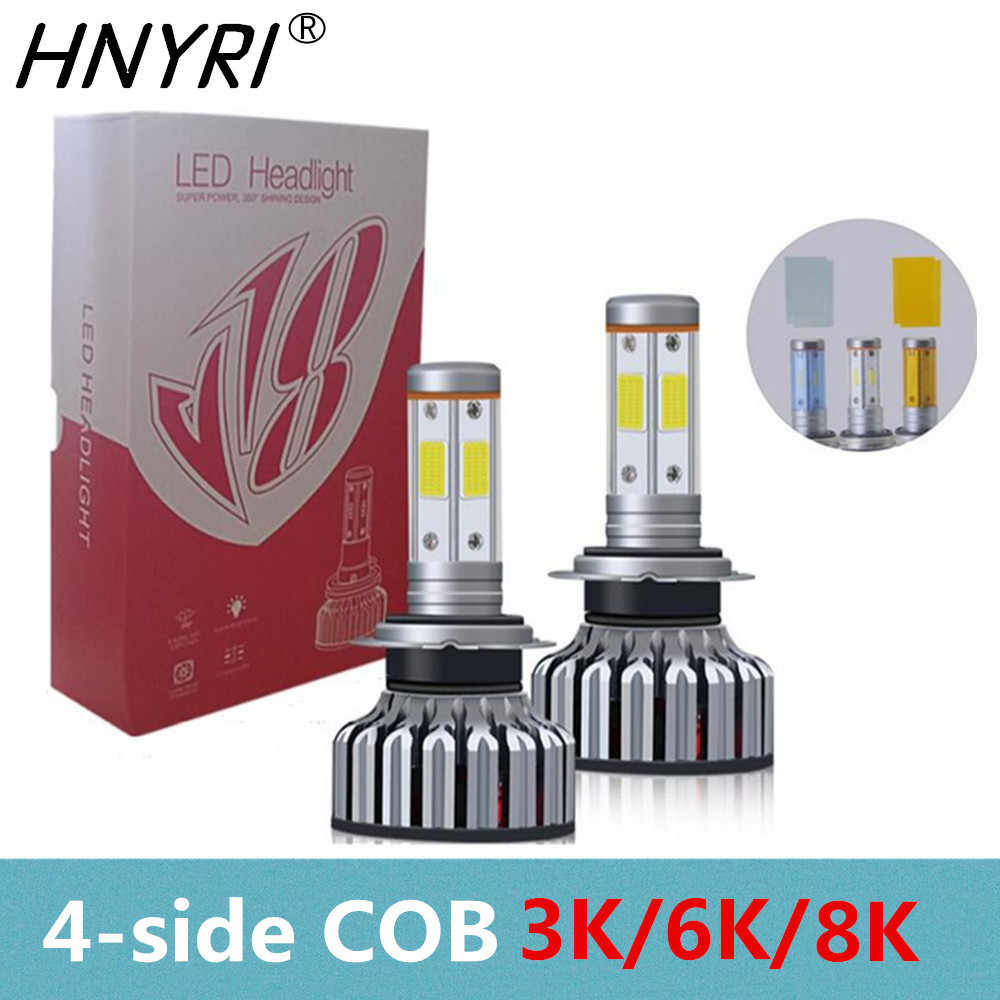 LED H7 4-Side COB 3000K 6000K 8000K Car Light 60W 6000LM Headlight LED H4 H1 H11 9005 HB3 9006 HB4 H13 H3 9007 HB5 880 H27 AUTO