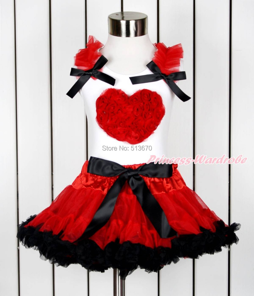 Valentine Red Romantic Rose Heart White Top Red Black Girl Pettiskirt 1-8Year MAPSA0116 red black 8 layered pettiskirt red sparkle number ruffle red bow tank top mamg575