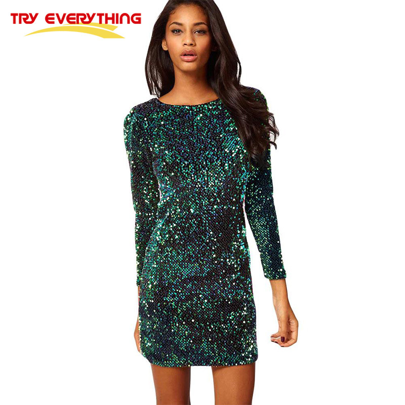 Try Everything Sexy Sequin Dress Party Evening New Year 2019 Short Bodycon Glitter Dresses For Women Green Gold Club Mini Dress Платье