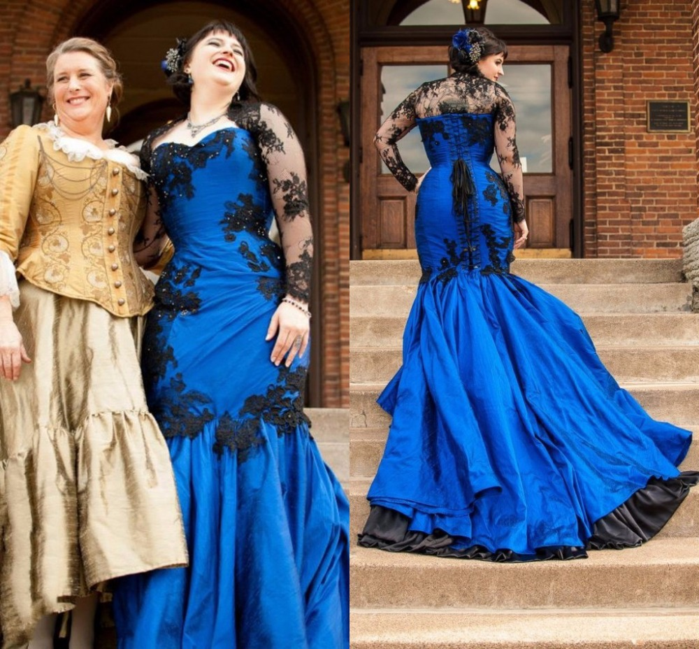 Vintage Dresses Blue Wedding: Vestido De Noiva 2015 Gothic Royal Blue Wedding Dresses