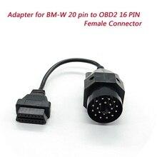 1 pcs OBD II Adaptador para BMW 20 pinos para OBD2 16 Conector Fêmea PIN e36 e39 X5 Z3 para BMW 20pin cabo de diagnóstico acessórios do carro
