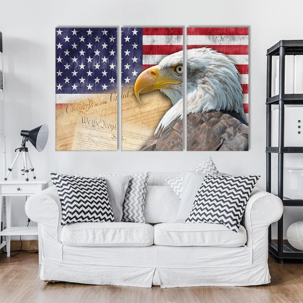 3 panneau toile art grande affiche HD peinture Rétro drapeau Américain et aigle imprimer art home decor wall art image pour salon