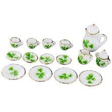 HOT SALE 1/12 Dollhouse Miniature Jantar Porcelana Tea Set Pot Copo Prato Conjunto de 15 Teste Padrão do Trevo