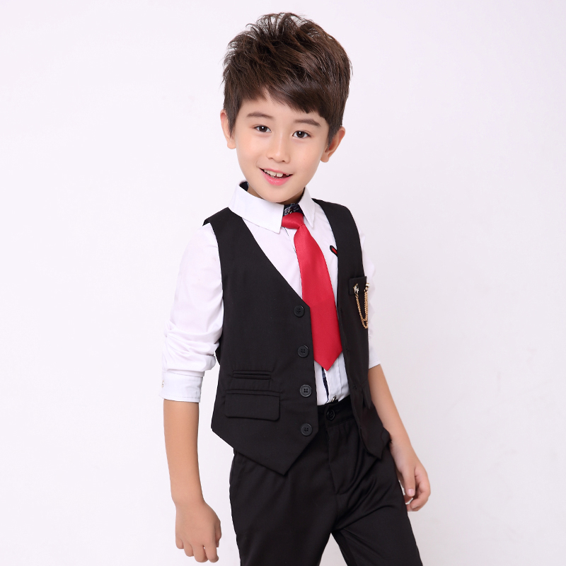 2018 Boys Suits for Weddings Kids Formal Blazer Suits Vest+Blouse+Pants 3pieces/set Baby Boys Tuxedo Clothing Sets Blazer Sets