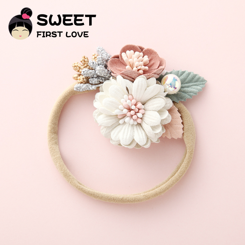 7eea0676b9d91 Aliexpress.com : Buy 1PCS Girls Flower Nylon Headband with Pearl, Vintage  Floral Hair Bows Elastic Hairband for Kids Headwear Hair Accessories from  ...