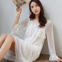 Autumn Fairy Beautiful Vintage Modal Lace Mesh Nightdress Female Princess Sleepwear Women Long Sleeve Night shirts Retro 3109