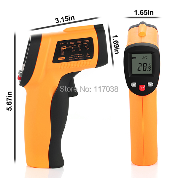 HOT Non-Contact Laser Digital Thermometer -50 ~ 550 degree Infrared Temperature meter Auto Power Shut Off function