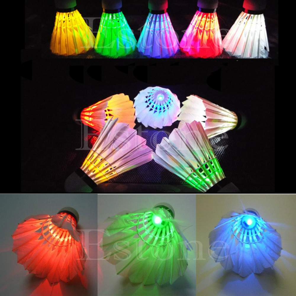 New 4Pcs Lighting Badminton Birdies Dark Night Colorful LED Shuttlecock Hot Sale W315