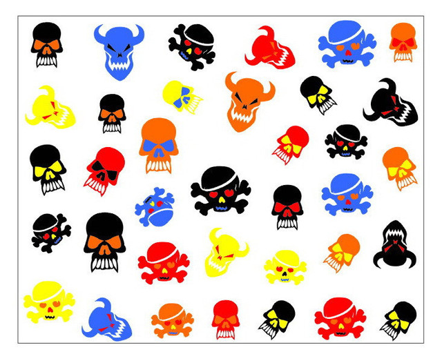 Nail 3d art stickers decal halloween horror black blue red yellow skull bull design foils stamps