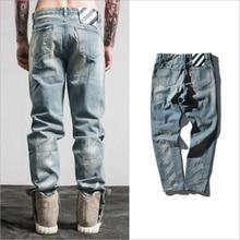 2017 off white jeans Ripped Denim Knee Hole Zipper Biker mens harem jeans pants Destroyed Torn