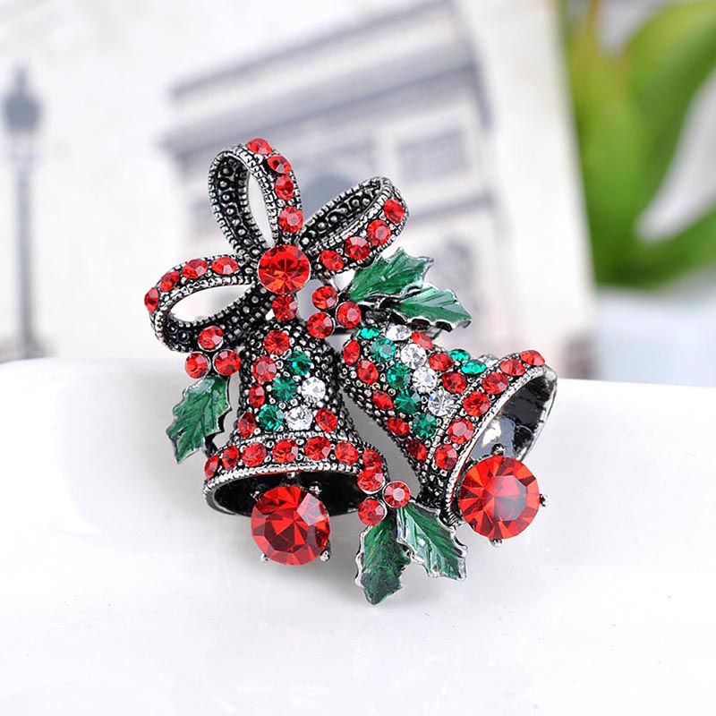 New crystal christmas bell brooch ornaments