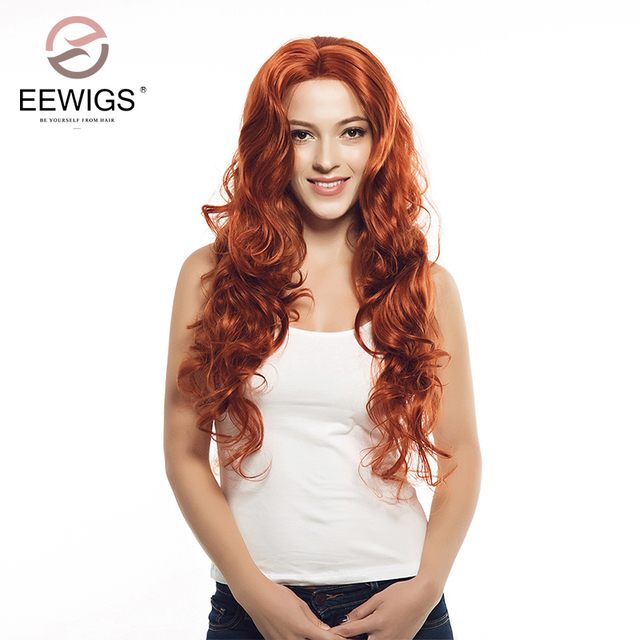 synthetic lace front wigs long natural wavy wigs red copper natural