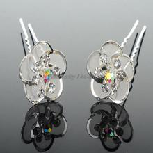 NEW 20Pcs Lots Wedding Bridal Crystal Faux Pearl Flower Hairpins Hair Pins plum flower fork