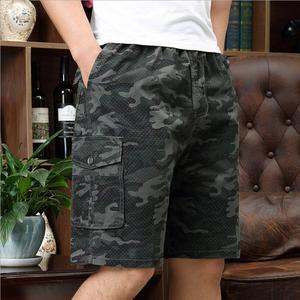 Homens camuflagem shorts verão com ferramentas shorts de boa qualidade algodão solto carga calças curtas cintura elástica shorts casuais