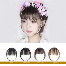 Fake Fringe Hair Bangs Clip Ons Short Straight Front Neat Wedding Synthetic Clip In Hair Pieces Bangs For Women Training Head(China)