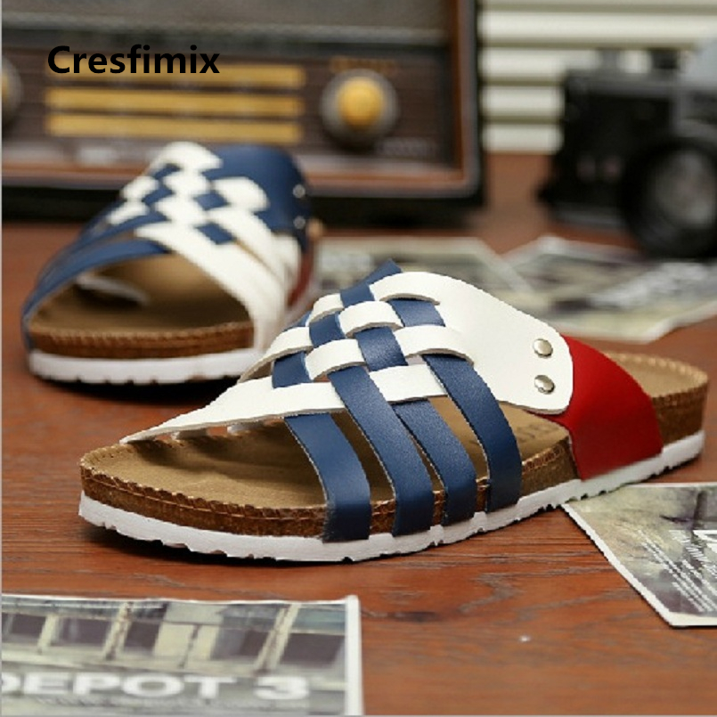 Cresfimix male fashion multicolor pu leather slides men plus size pu leather white slippers man's cool comfy slippers a475 plus size pu leather panel plaid open front jacket