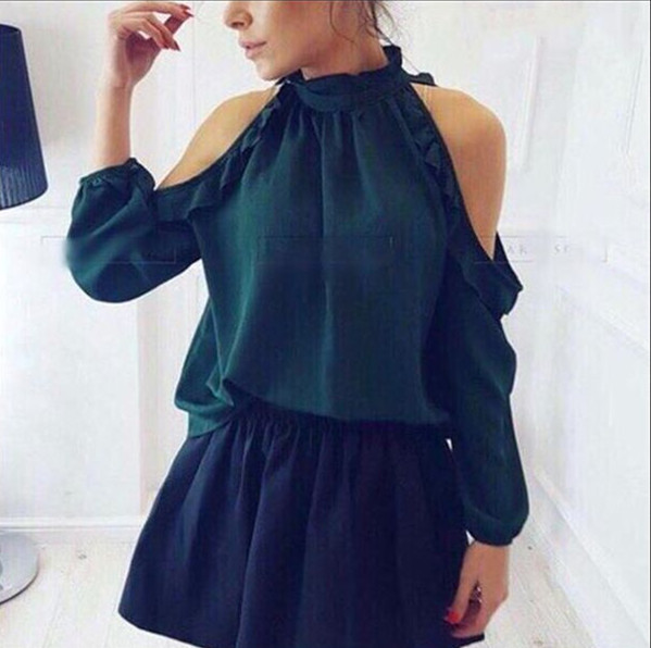 2018 New Women Fashion Open Shoulder Blouse Summer Long sleeve Ruffle Burgundy Green yellow Shirt Casual Loose Blouse Tops in Blouses amp Shirts from Women 39 s Clothing