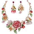 BELLA Fashion Pink and Multi Colors Rose Necklace Earrings Set Austrian Crystal Butterfly Ladybug Insect Jewelry Set