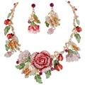 BELLA Moda Rosa y Colores Multi Rose Pendientes Del Collar de Cristal Austriaco Mariposa Mariquita Insectos Joyería Conjunto
