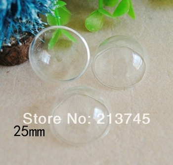 Freeshipping! 2014 New  25mm Half Round Glass Cover Glass Bulb Vial Pandent DIY Glass Bottle Making