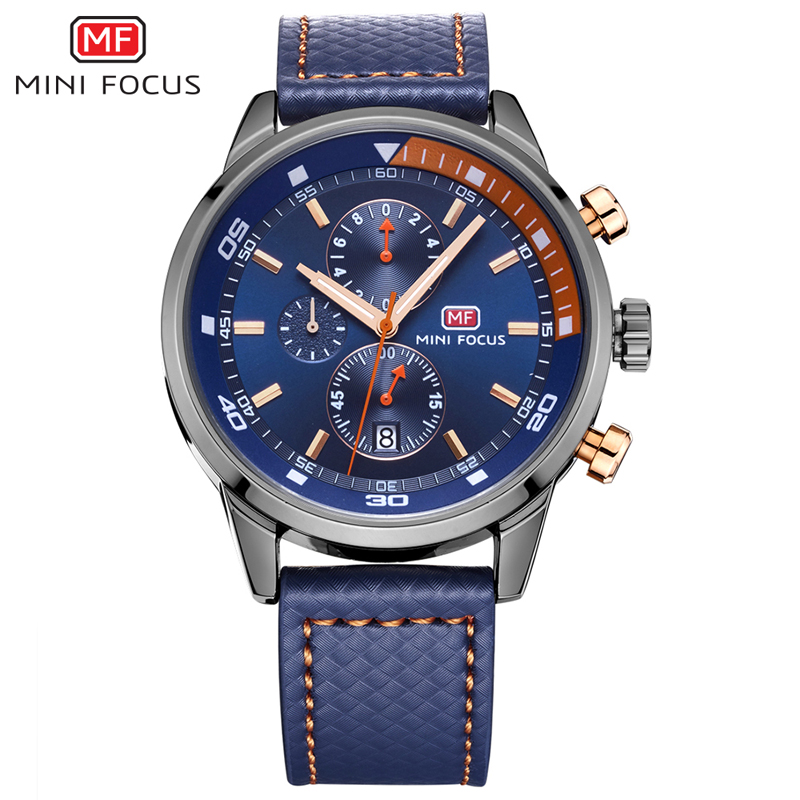 MINI FOCUS Big Dial Watch Men Miltary Sport Fashion Casual Calendar Wristwatches Mens Hours Leather Relogio Masculino with Box oulm brand mens rectangle leather strap hand wind mechanical watch fashion casual wristwatches with gift box relogio releges