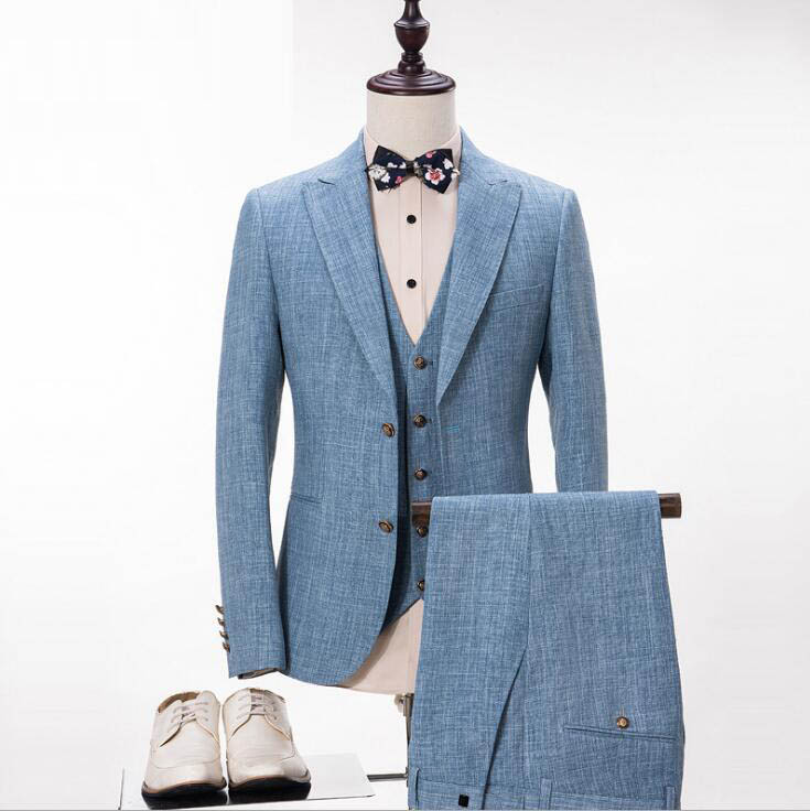 FOLOBE 2020 Men Suit Slim Fashion Wedding Groom Wear Men Suit Gentlemen Costume Mariage Homme Blazer Coat (Blazer+Pants+Vest)