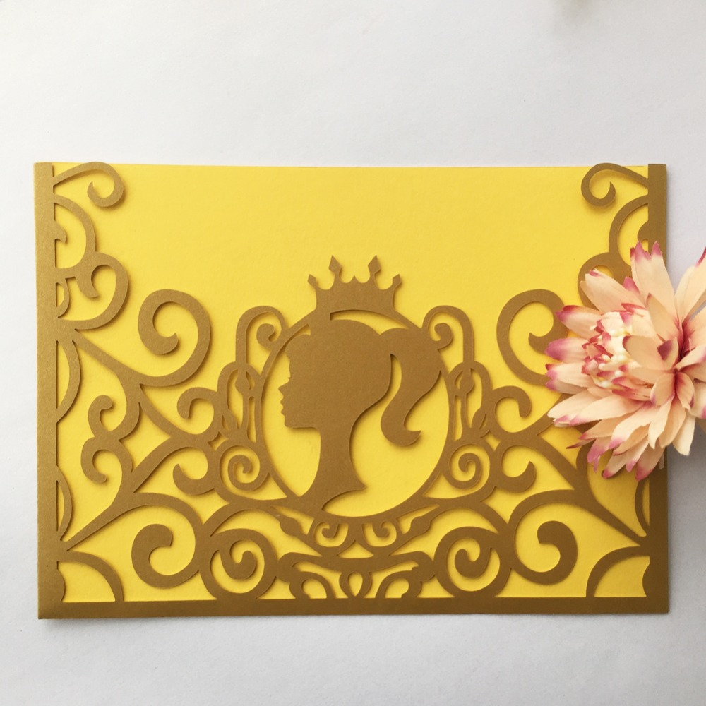 50pcs elegant unique wedding invitations card with pocket 18th 15th diy birthday party gift invitation best wishes greeting card