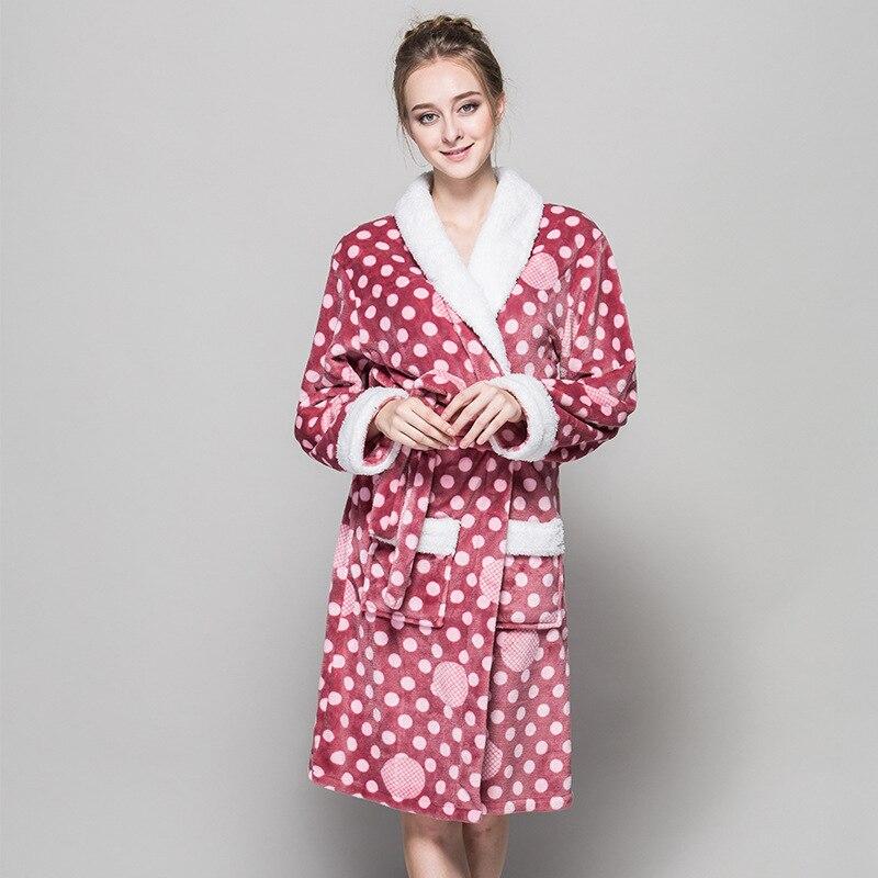 Flannel Bathrobes Women Winter Soft Casual Sexy Warm Bridesmaids Robes Kimono Satin Pink Red Bath Robe Hot Sale