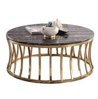 30x 테이블 팩  크롬 골드 프레임/인공 석재와 검은 대리석 커피 테이블