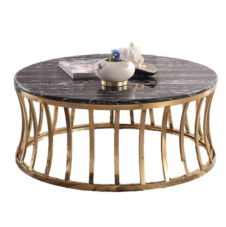 Black Marble Coffee Table with Chrome Gold Frame
