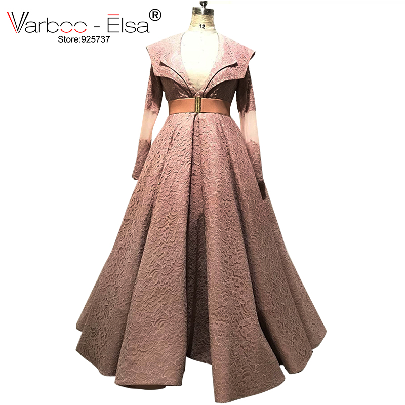 VARBOO_ELSA New Arrive Fashion V-neck Long Sleeve   Evening     Dress   Elegant Belt Cameo Lace Long Prom   Dress   Custom vestido longo