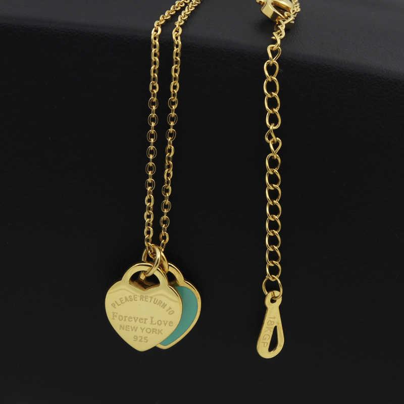 חדש הגעה אהבה כפולה לב אמייל Ladie לנצח אהבת נירוסטה שרשרת להיסחף בקבוקי תכשיטים סיטונאי מתנה עבור נשים