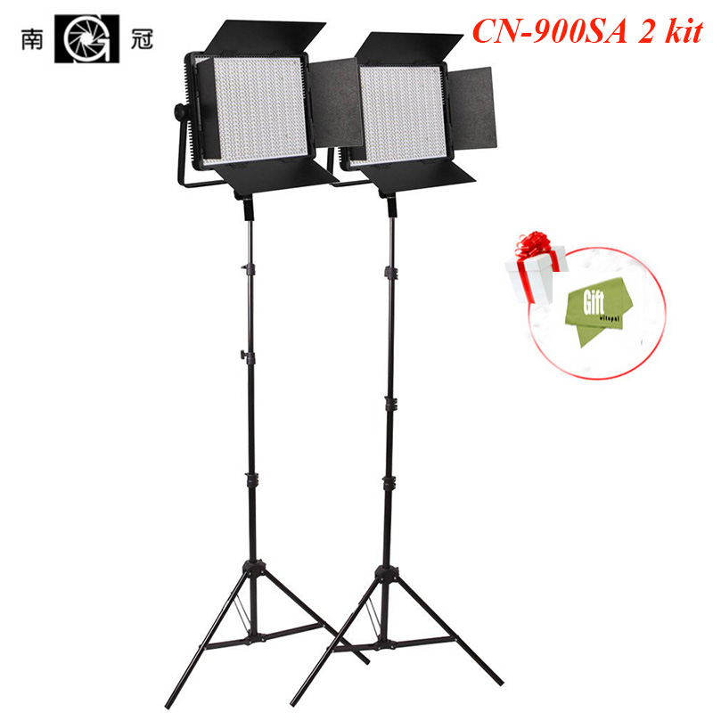 Nanguang CN-900SA 2 kit Daylight 5600K/3200K LED Studio Panel Light with 2pcs Tripod ,V-Lock Plate Free Bag (900SA-2Kit) nanguang cn r640 cn r640 photography video studio 640 led continuous ring light 5600k day lighting led video light with tripod