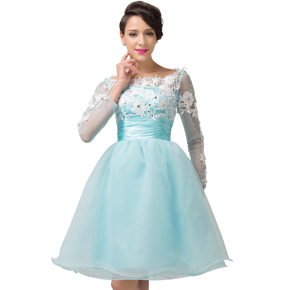 Sexy Open Back Short Prom Dresses Turquoise Organza Backless ...
