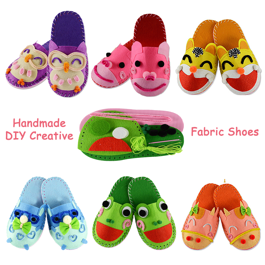 DIY Handmade Cartoon Slippers Sewing Kit,Montessori Educational For Kids Non-woven Fabric Shoes Art & Crafts Kits Creative Toys