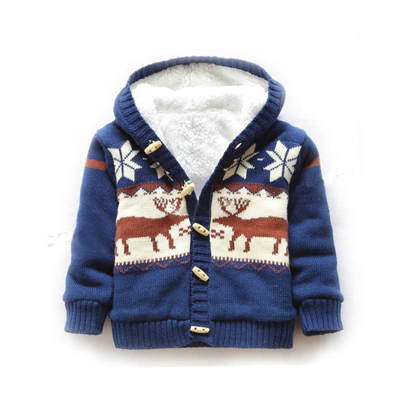 Baby Sweaters Christmas Reindeer Cardigan Jackets Children Fleece