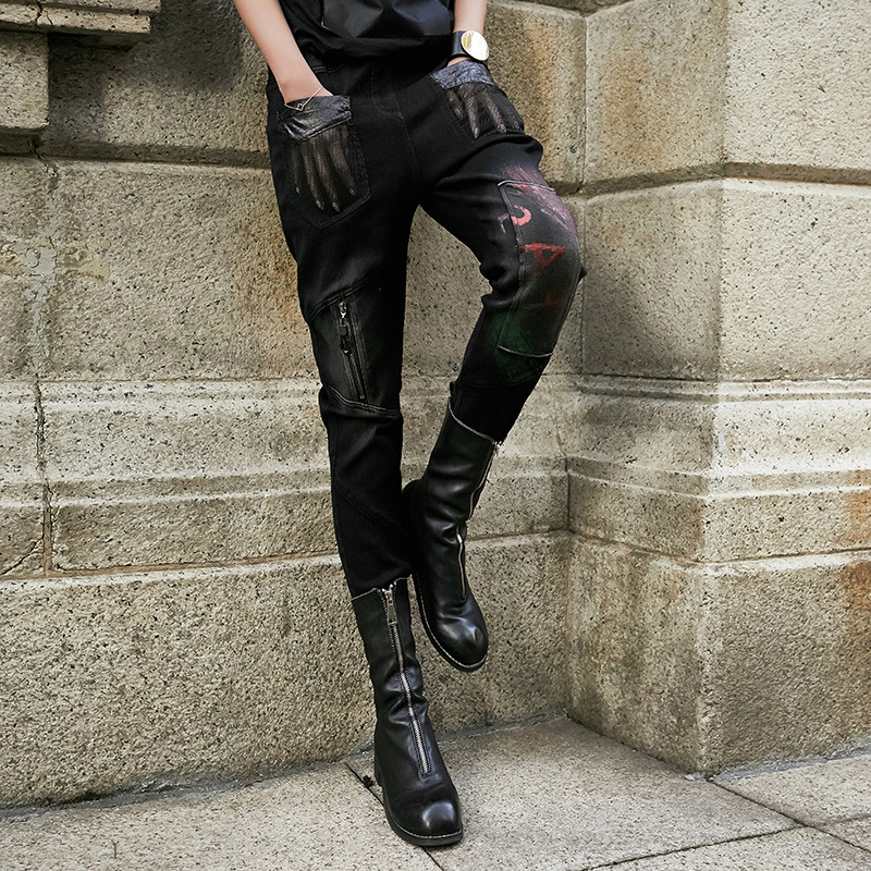 Women Personality PENCIL   Pants     Capri   Vintage Casual Gothic Punk Zipper Trousers Female Outfits Cool Slacks Street Wear Harajuku