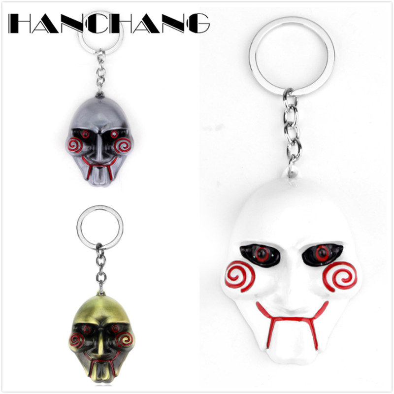HANCHANG Accessories Horror Movie Jewelry SAW Mask Keychains Men Boys Personalised Keyring Key Chains for Bags trendy movie silent night jack skull keyring