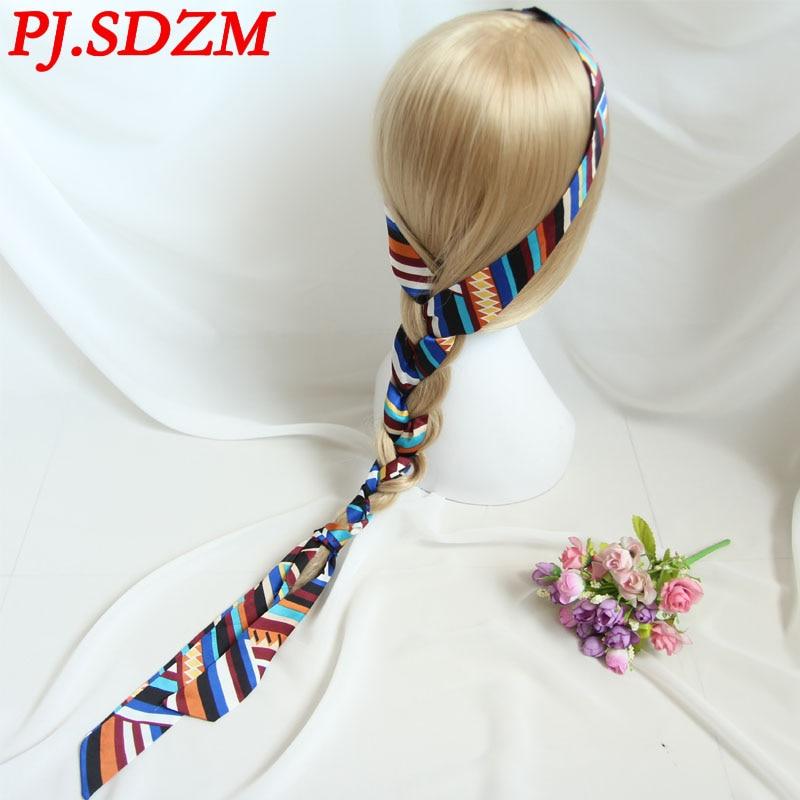2pcs/lot New Arrival Bohemian Style Ultra Long Narrow Ribbon Headband Women Fashion Print Headwear Adjust Length Headbands