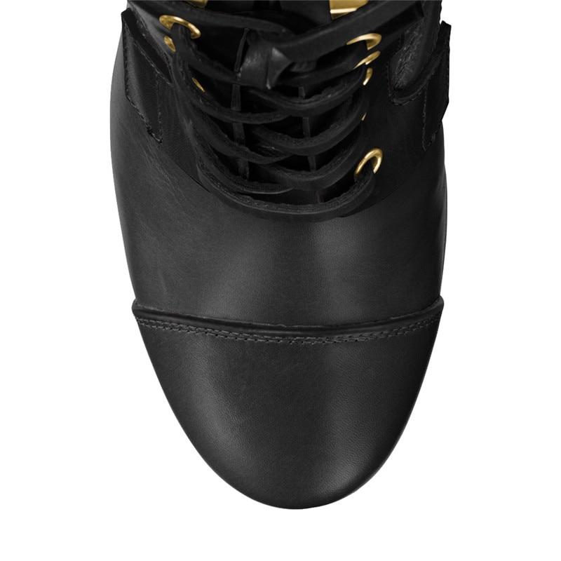 Bout forme Bottes Usine Talons Rond Chaussures Personnaliser À Lacets Botas Grande Noir Épais Classique Dames Femme Show Taille Plat Hauts As Femmes Plate YZSqEwF