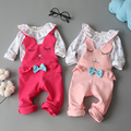 Newborn Clothes Baby Girl Clothes Set 2 pcs Long Sleeves Polka Dots Tops + Cartoon Strap Suits Infant Baby Clothing for 7-24Mo