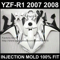 High quality Motorcycle 100% injection ABS fairings kit for YAMAHA R1 2007 2008 YZF R1 07 08 white black fairing kits