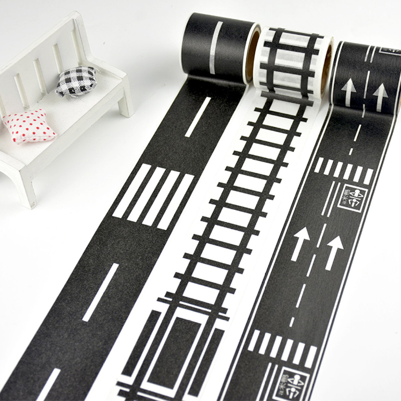 48mmX5m Railway Highway Road Washi Tape Wide Creative Traffic Road Adhesive Masking Tape Road for Kids Toy Car Play