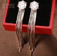 2015 New arrival high quality fashion cubic zirconia 925 sterling silver female stud earrings jewelry gift wholesale