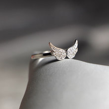 925 rings Stylish Sweet Zircon Wing Shape Ring S925 Sterling Silver Ring for Women stylish cute shape disc horse ring shape bowknot embellished sweater chain for women