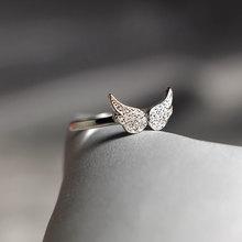 925 rings Stylish Sweet Zircon Wing Shape Ring S925 Sterling Silver for Women