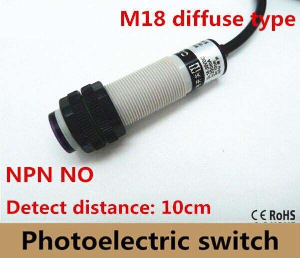 M18 diffuse type DC10-30V NPN NO en plastique sheel photoélectrique capteur interrupteur infrarouge cellule photoélectrique capteur distance 10 cm Approbation de la ce