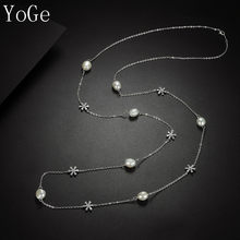 YoGe N1169 Luxury AAA cubic zirconia snowflake and natural irregularity pearls long sweater chain,necklace for women(China)