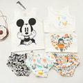 Baby Girl Clothing Set Full Cotton Micky Mouse Infant Kleding Sleeveless Baby Girl Birthday Present Summer Kids Clothing Set