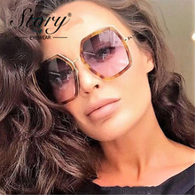34a90eccda STORY Oversized Sunglasses Women Big Glasses Frame UV400 Mirror Sun Glasses  For Woman oculos sol feminino With Box